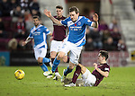 Hearts v St Johnstone…05.11.16  Tynecastle   SPFL<br />Liam Smith fouls Blair Alston<br />Picture by Graeme Hart.<br />Copyright Perthshire Picture Agency<br />Tel: 01738 623350  Mobile: 07990 594431