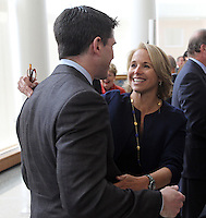 Feb. 26, 2011- Charlottesville, Virginia (USA)- CBS Evening News anchor Katie Couric, right, greets her nephew Dr. Ray Wadlow, the son of Emily Couric, during the opening of the Emily Couric Clinic Cancer Center at the University of Virginia Health System in Charlottesville, Va. The building is named after Emily Couric who died of pancreatic cancer in 2001.  Credit Image: © Andrew Shurtleff
