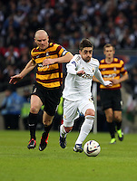 Pictured: (L-R) Gary Jones, Pablo Hernandez. Sunday 24 February 2013<br /> Re: Capital One Cup football final, Swansea v Bradford at the Wembley Stadium in London.
