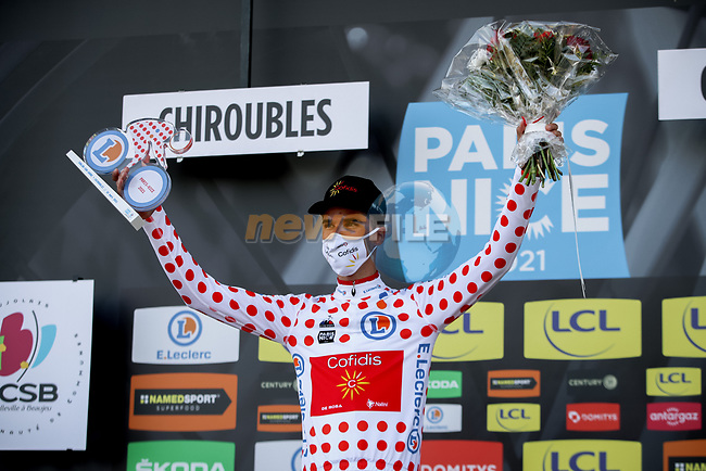 Anthony Perez (FRA) Cofidis takes over the mountains Polka Dot Jersey at the end of Stage 4 of Paris-Nice 2021, running 187.5km from Chalon-sur-Saone to Chiroubles, France. 10th March 2021.<br /> Picture: ASO/Fabien Boukla | Cyclefile<br /> <br /> All photos usage must carry mandatory copyright credit (© Cyclefile | ASO/Fabien Boukla)