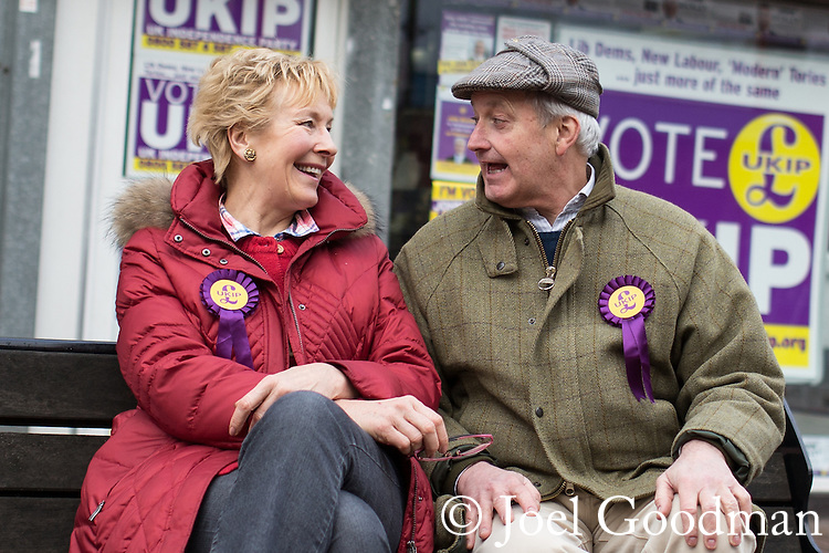 © Joel Goodman - 07973 332324 .  10/02/2014 . Sale , UK . Christine and Neil Hamilton outside the UKIP campaign office in Sale . Neil Hamilton , Deputy Chairman of UKIP , and his wife , Christine Hamilton , campaign for UKIP on the trail for the Wythenshawe and Sale East by-election , today (Monday 10th February 2014) . UKIP 's candidate , John Bickley , is widely predicted to come second . The election was called after the death of the Labour MP , Paul Goggins . Photo credit : Joel Goodman