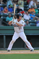 Catcher JT Watkins (10) of the Greenville Drive bats in a game against the Greensboro Grasshoppers on Tuesday, August 25, 2015, at Fluor Field at the West End in Greenville, South Carolina. Greensboro won, 3-2. (Tom Priddy/Four Seam Images)
