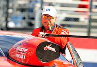 Feb. 24, 2011; Pomona, CA, USA; NHRA pro stock driver V Gaines during qualifying for the Winternationals at Auto Club Raceway at Pomona. Mandatory Credit: Mark J. Rebilas-