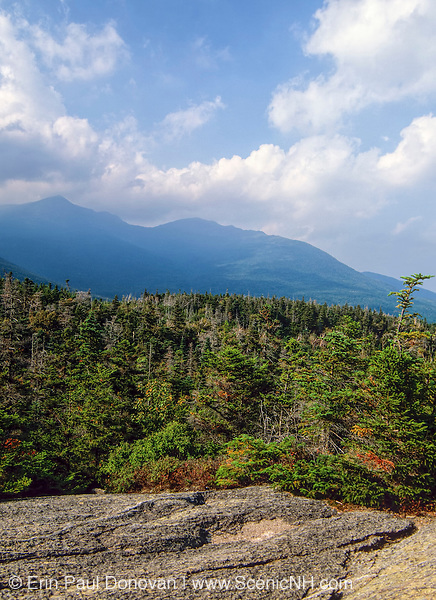 Scenic view of the Presidential Range from Low's Bald Spot in the White Mountains of New Hampshire USA. This view point is located just off the Appalachian Trail (Madison Gulf Trail).