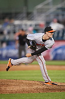 Bowie Baysox relief pitcher Tim Berry (32) delivers a pitch during a game against the Harrisburg Senators on May 16, 2017 at FNB Field in Harrisburg, Pennsylvania.  Bowie defeated Harrisburg 6-4.  (Mike Janes/Four Seam Images)