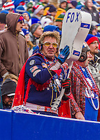14 December 2014: Buffalo Bills Fan Elvis cheers the team on in the second quarter against the Green Bay Packers at Ralph Wilson Stadium in Orchard Park, NY. The Bills defeated the Packers 21-13, snapping the Packers' 5-game winning streak and keeping the Bills' 2014 playoff hopes alive. Mandatory Credit: Ed Wolfstein Photo *** RAW (NEF) Image File Available ***