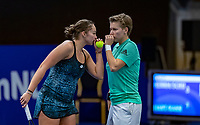 Alphen aan den Rijn, Netherlands, December 14, 2018, Tennispark Nieuwe Sloot, Ned. Loterij NK Tennis, Woman's doubles: Demi Schuurs (NED) (R) and Lesley Kerkhove (NED)<br /> Photo: Tennisimages/Henk Koster