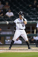 Eddy Alvarez (10) of the Charlotte Knights at bat against the Indianapolis Indians at BB&T BallPark on May 26, 2018 in Charlotte, North Carolina. The Indians defeated the Knights 6-2.  (Brian Westerholt/Four Seam Images)