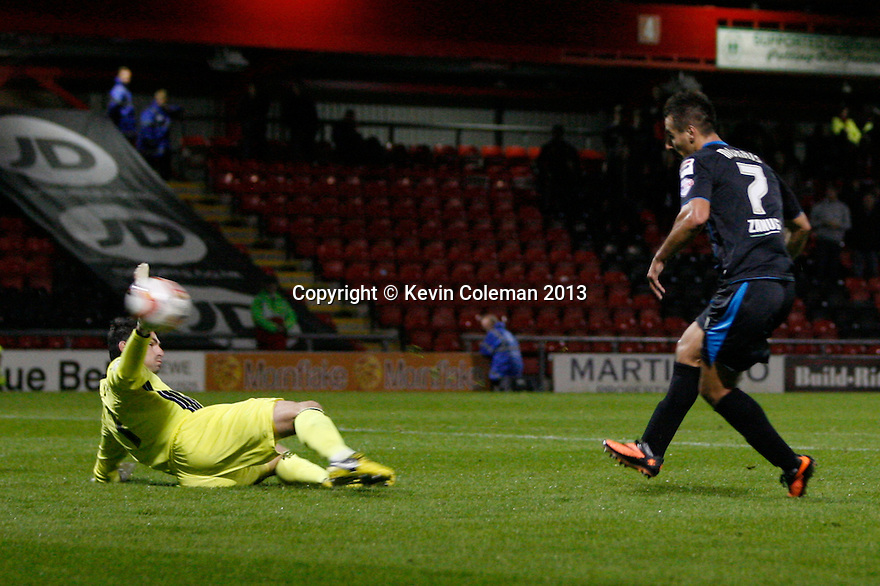Filipe Morais of Stevenage scores the opening goal<br />  - Crewe Alexandra v Stevenage - Sky Bet League One - Alexandra Stadium, Gresty Road, Crewe - 22nd October 2013. <br /> © Kevin Coleman 2013