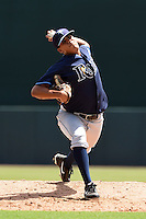 Tampa Bay Rays pitcher Michael Velasquez (76) during an Instructional League game against the Baltimore Orioles on September 15, 2014 at Ed Smith Stadium in Sarasota, Florida.  (Mike Janes/Four Seam Images)