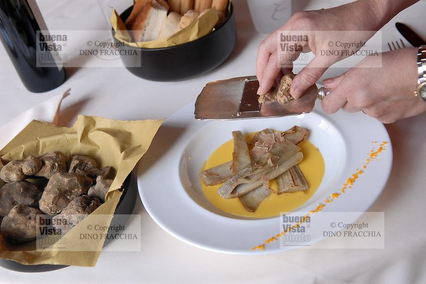 - Guido restaurant in Pollenzo (Cuneo), grate of white truffle on thistles ....- ristorante Guido a Pollenzo (Cuneo), grattugia di tartufo bianco su cardi al burro....