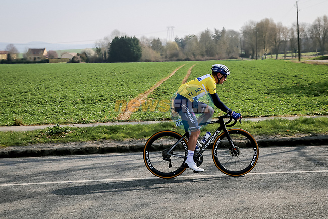 Race leader Yellow Jersey Sam Bennett (IRL) Deceuninck-Quick Step during Stage 2 of Paris-Nice 2021, running 188km from Oinville-sur-Montcient to Amilly, France. 8th March 2021.<br /> Picture: ASO/Fabien Boukla | Cyclefile<br /> <br /> All photos usage must carry mandatory copyright credit (© Cyclefile | ASO/Fabien Boukla)