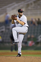 Hickory Crawdads relief pitcher Kaleb Fontenot (35) in action against the Kannapolis Intimidators at Kannapolis Intimidators Stadium on April 22, 2017 in Kannapolis, North Carolina.  The Intimidators defeated the Crawdads 10-9 in 12 innings.  (Brian Westerholt/Four Seam Images)