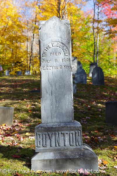 Breezy Point Point Road Cemetery in Warren, New Hampshire USA during the autumn months.
