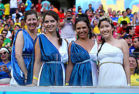 Greece fans cheer their side on before kick off