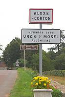 Street sign. Aloxe Corton, Cote de Beaune, d'Or, Burgundy, France