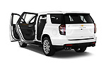 Rear three quarter door view of a 2021 Chevrolet Tahoe Premier 5 Door SUV