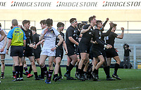 Monday 19th March 2018 |  Ulster Schools Cup Final 2018<br /> <br /> Campbell celebrate during the 2018 Ulster Schools Cup Final between the Royal School Armagh and Campbell College at Kingspan Stadium, Ravenhill Park, Belfast, Northern Ireland. Photo by John Dickson / DICKSONDIGITAL