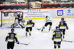 Medical Kings Skater #27 Dennis Yee (r) battle in the goal mouth during the Principal Standard League match between Medical Winner Kings vs Verity at the Mega Ice on 17 January 2017 in Hong Kong, China. Photo by Marcio Rodrigo Machado / Power Sport Images