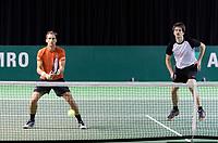 Rotterdam, Netherlands, 10 februari, 2018, Ahoy, Tennis, ABNAMROWTT, Qualifying doubles, Thiemo de Bakker (NED) (L) and Sander Arends (NED)<br /> Photo: Henk Koster/tennisimages.com