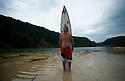 Andy Iron at the Waimea Bay river mouth on the Northshore of Oahu in Hawaii.