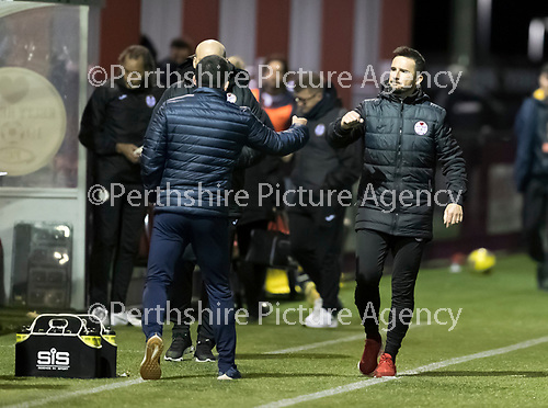 Kelty Hearts v St Johnstone…07.10.20   New Central Park  Betfred Cup<br />Barry Ferguson and Callum Davidson at full time<br />Picture by Graeme Hart.<br />Copyright Perthshire Picture Agency<br />Tel: 01738 623350  Mobile: 07990 594431