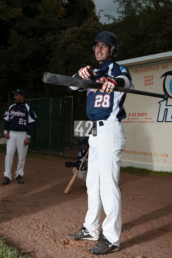 23 October 2010: Pierrick Lemestre of Savigny poses during Savigny 8-7 win (in 12 innings) over Rouen, during game 3 of the French championship finals, in Rouen, France.