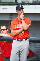 Greeneville Astros manager Josh Bonifay (17) prior to the game against the Burlington Royals at Burlington Athletic Park on June 29, 2014 in Burlington, North Carolina.  The Royals defeated the Astros 11-0. (Brian Westerholt/Four Seam Images)