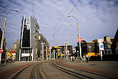 Liberec, Czech Republic. Modern town street with tram lines, McDonald's advertisement, modern building.