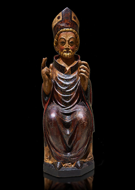 Gothic wood statue of Bishop Saint by the St Bertrand de Cominges Group of artists. Polychrome wood carving with varnished metal-plating.  National Museum of Catalan Art, inv no: 064024-000