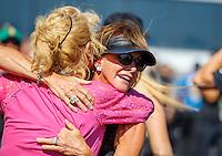 Jun 12, 2016; Englishtown, NJ, USA; Kay Torrence celebrates after NHRA top fuel driver Steve Torrence wins the Summernationals at Old Bridge Township Raceway Park. Mandatory Credit: Mark J. Rebilas-USA TODAY Sports