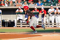 Chattanooga Lookouts second baseman Leonardo Rivas (3) at bat against the Tennessee Smokies at Smokies Stadium on June 18, 2021, in Kodak, Tennessee. (Danny Parker/Four Seam Images)