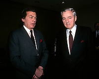 Montreal (Qc) CANADA - April 1988 File photo - Egdar Bronfman (Senior), Seagram's.(L) talk with Paul Desmarais (Senior), CEO, Power Corporation (R)<br /> <br /> Egdar Bronfman (Senior) ,Canadian born billionaire and longtime World Jewish Congress president.<br /> <br /> Born June 20, 1929, Edgar Bronfman is one of four children of Samuel and Saidy Bronfman . He  died December 21,2013<br /> <br /> <br /> PHOTO :  Agence Quebec Presse