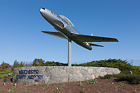 New York Air National Guard Lockheed T-33 at the entrance to the Westchester County Airport near White Plains, New York