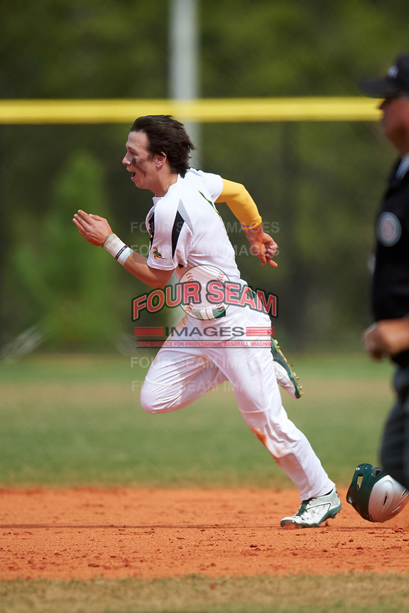 Community College of Rhode Island Knights Austin Davis (1) during a game against the Genesee Community College Cougars on March 20, 2016 at Lake Myrtle Park in Auburndale, Florida.  CCRI defeated Genesee 23-4.  (Mike Janes/Four Seam Images)