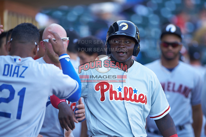 Glendale Desert Dogs left fielder Cornelius Randolph (2), of the Philadelphia Phillies organization, is congratulated by teammates after scoring a run during an Arizona Fall League game against the Mesa Solar Sox on October 28, 2017 at Sloan Park in Mesa, Arizona. The Solar Sox defeated the Desert Dogs 9-6. (Zachary Lucy/Four Seam Images)