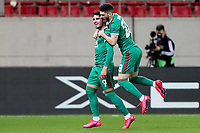 12th March 2020, Pireas, Greece; Europa League football, Olympiakos versus Wolves;  Pedro Neto celebrates his equaliser for 1:1 with Joao Moutinho in the 67th minute