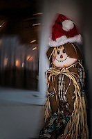 Scarecrow decoration wearing a Santa hat on a swirled-porch background.