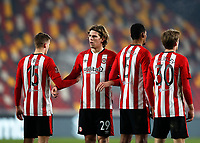 9th January 2021; Brentford Community Stadium, London, England; English FA Cup Football, Brentford FC versus Middlesbrough; Mads Bech Sorensen of Brentford receiving instructions from Goalkeeper Luke Daniels of Brentford for a free kick  wall alongside Marcus Forss, Ethan Pinnock and Mads Roerslev of Brentford