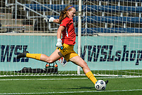 BRIDGEVIEW, IL - JULY 18: Cassie Miller #38 of the Chicago Red Stars warms up before a game between OL Reign and Chicago Red Stars at SeatGeek Stadium on July 18, 2021 in Bridgeview, Illinois.