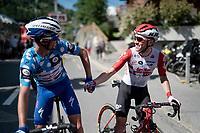 Julian Alaphilippe (FRA/Deceuninck - Quick-Step) congratulating Carl Fredrik Hagen (NOR/Lotto-Soudal) after the finish<br /> <br /> Stage 8: Cluses (FRA) to Champéry (SUI)(113km)<br /> 71st Critérium du Dauphiné 2019 (2.UWT)<br /> <br /> ©kramon