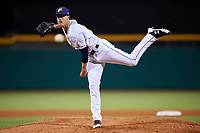 Montgomery Biscuits relief pitcher Kyle Bird (17) delivers a pitch during a game against the Mississippi Braves on April 24, 2017 at Montgomery Riverwalk Stadium in Montgomery, Alabama.  Montgomery defeated Mississippi 3-2.  (Mike Janes/Four Seam Images)