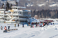 Peter Kaiser runs down the Chena River toward the Riverboat Discovery during the re-start of the 2017 Iditarod in Fairbanks, Alaska at Pike's Landing on Monday March 6, 2017.<br /> <br /> Photo by Jeff Schultz/SchultzPhoto.com  (C) 2017  ALL RIGHTS RESVERVED