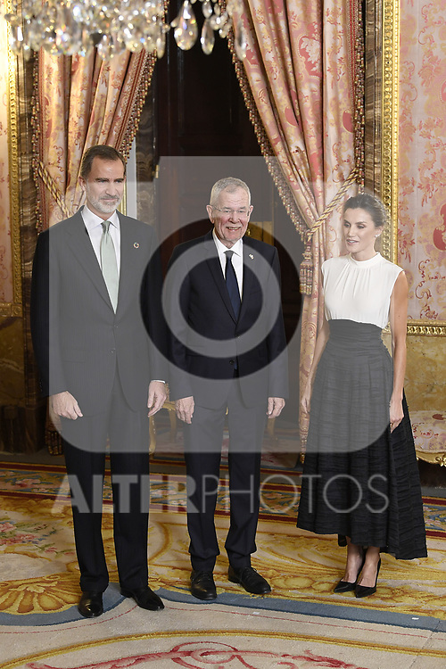King Felipe VI of Spain (L) and Queen Letizia of Spain (R) receive President of Austria Alexander Van der Bellen (C) because of the United Nations conference for the Climate Summit 2019 (COP25) at the Royal Palace. December 2,2019. (ALTERPHOTOS/Pool/Carlos Alvarez)