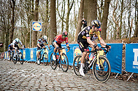 eventual race winner Wout van Aert (BEL/Jumbo-Visma) storming up the Kemmelberg  at the 83rd Gent-Wevelgem - in Flanders Fields (ME - 1.UWT)<br /> <br /> 1 day race from Ieper to Wevelgem (BEL): 254km<br /> <br /> ©kramon