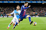 Lionel Messi of FC Barcelona (R) in action against Emre Colak of RC Deportivo La Coruna (L) runs with the ball during the La Liga 2017-18 match between FC Barcelona and Deportivo La Coruna at Camp Nou Stadium on 17 December 2017 in Barcelona, Spain. Photo by Vicens Gimenez / Power Sport Images