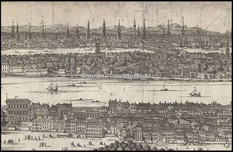 BNPS.co.uk (01202 558833)<br /> Pic: CrouchRareBooks/BNPS<br /> <br /> The many distant spires reveal the number of churches in the city.<br /> <br /> The largest map of Hanovarian London, that almost didn't see the light of day due to a Royal dispute, is being sold for £60,000.<br /> <br /> A rare and fascinating panorama was drawn 300 years ago, and reveals in incredible detail the layout of the city in the early days of Georgian Britain.<br /> <br /> The piece of art, measuring 40ins by 80ins, was produced in 1717 by Dutch artisan Jan Kip for Caroline of Ansbach, the Princess of Wales. <br /> <br /> But George I banned its publication for 9 years after falling out with his son and daughter in law in a bitter family dispute.<br /> <br /> He finally relented in 1726 allowing the glorious vista showing a far-reaching view from Buckingham House (Buckingham Palace) over St James's Park and Westminster towards the City of London, to be produced.