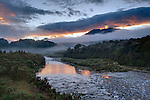 Sunrise at the Greenstone River. Westland Region. New Zealand.
