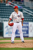 Harrisburg Senators relief pitcher Ismael Guillon (30) looks in for the sign during the second game of a doubleheader against the New Hampshire Fisher Cats on May 13, 2018 at FNB Field in Harrisburg, Pennsylvania.  Harrisburg defeated New Hampshire 2-1.  (Mike Janes/Four Seam Images)
