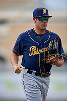 Montgomery Biscuits outfielder Josh Lowe (28) jogs to the dugout during a Southern League game against the Biloxi Shuckers on May 8, 2019 at MGM Park in Biloxi, Mississippi.  Biloxi defeated Montgomery 4-2.  (Mike Janes/Four Seam Images)